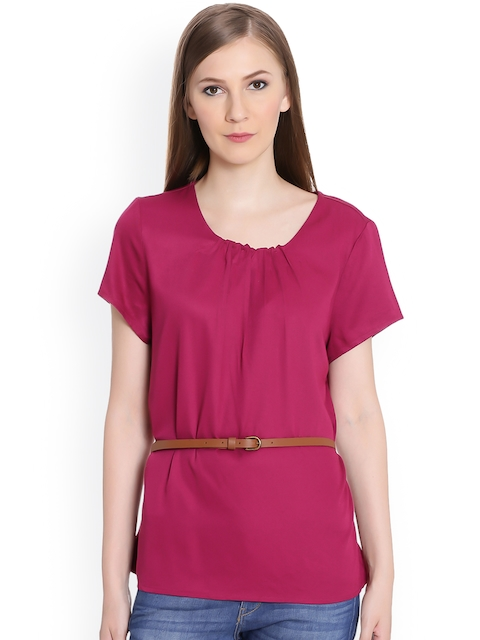 United Colors of Benetton Women Maroon Solid Top
