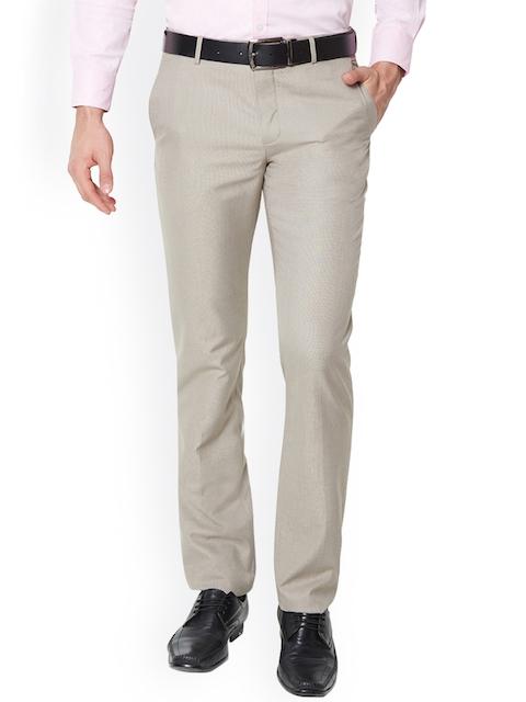Van Heusen Men Beige Slim Fit Self Design Regular Trousers