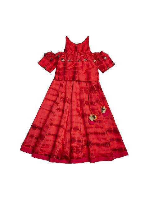 charkhee Girls Red Tie-Dye Print Cold Shoulder Lehenga Choli