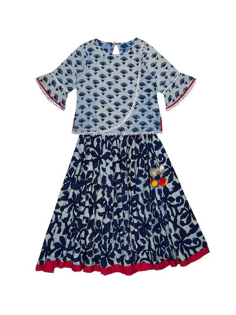 charkhee Girls Blue Block Print Lehenga Choli