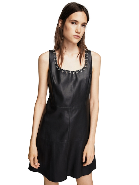 MANGO Women Black Solid A-Line Dress