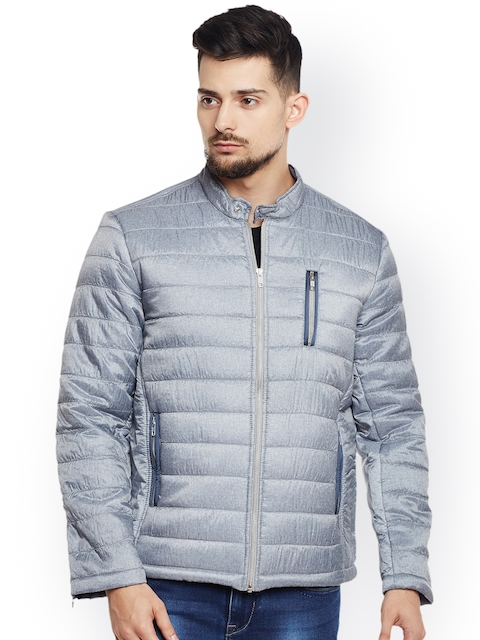 Canary London Men Grey Solid Quilted Jacket