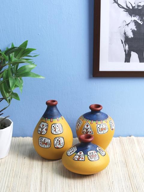 VarEesha Set of 3 Yellow Terracotta Hand-Painted Vases