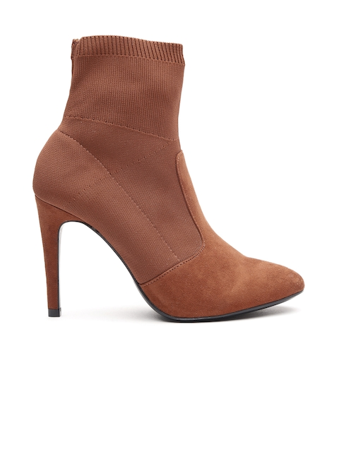 MANGO Women Brown Solid Heeled Boots