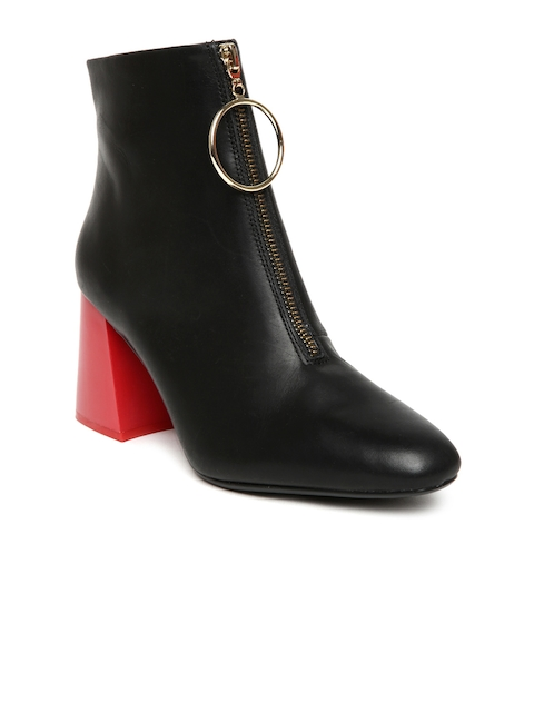 MANGO Women Black Leather Solid Heeled Boots