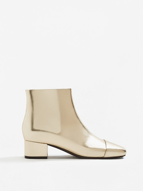 MANGO Women Gold-Toned Solid Heeled Boots