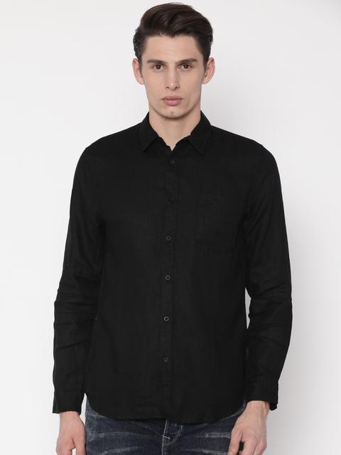 Jack & Jones Men Black Slim Fit Solid Linen Casual Shirt