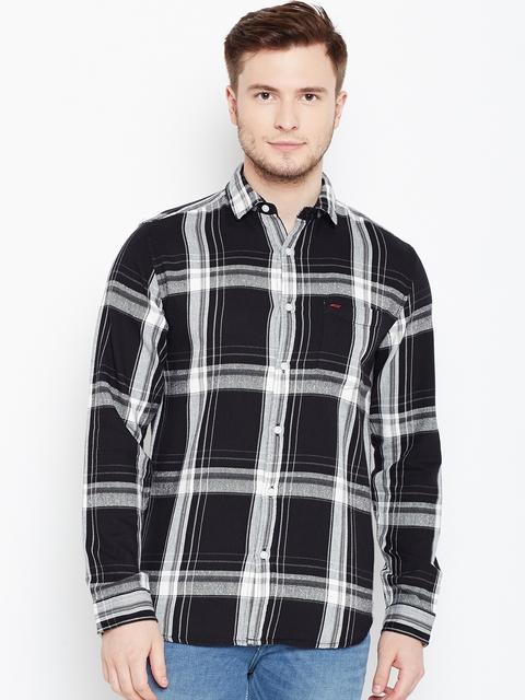 Jack & Jones Men Black & White Slim Fit Checked Casual Shirt