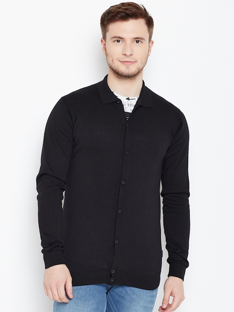 Jack & Jones Men Black Solid Cardigan