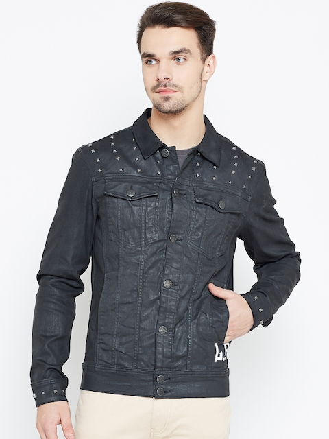 Jack & Jones Men Black Studded Denim Jacket
