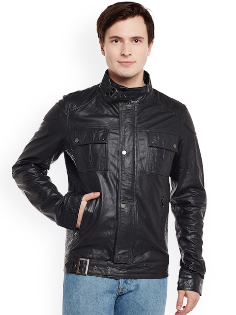 BARESKIN Men Black Solid Lightweight Leather Jacket