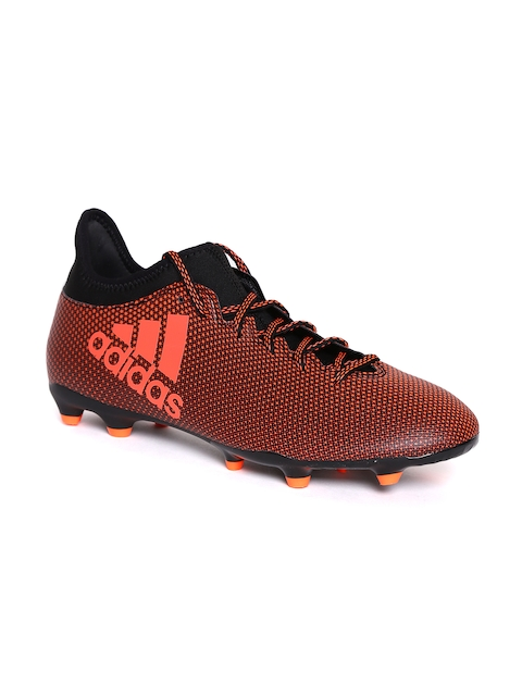 ADIDAS Men Black & Orange Football Shoes