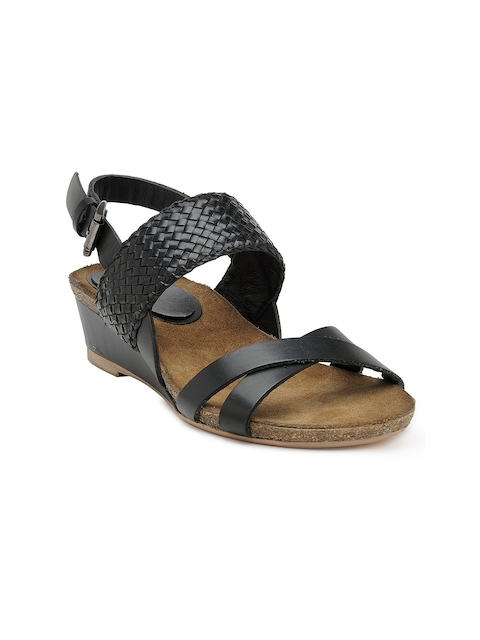 iLO Women Black Basketweave Wedges  available at myntra for Rs.1079