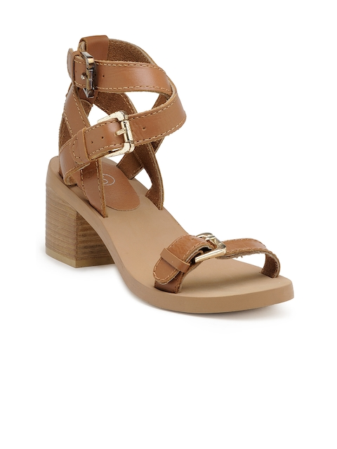 iLO Women Tan Brown Solid Block Heels  available at myntra for Rs.1119