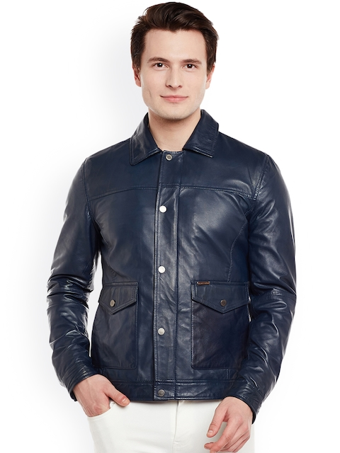 BARESKIN Men Navy Solid Lightweight Leather Jacket
