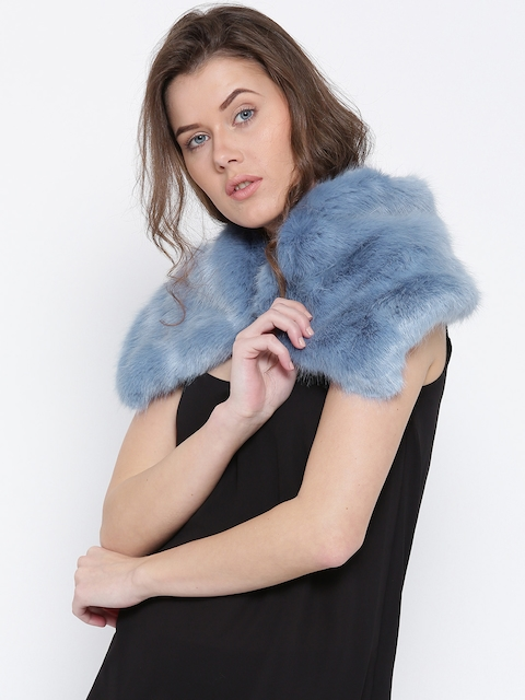 MANGO Blue Faux Fur Scarf