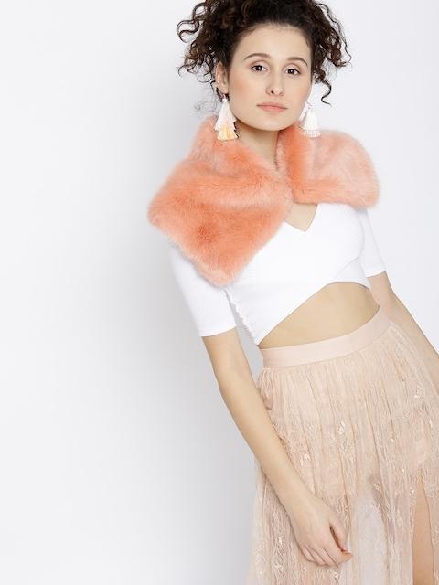 MANGO Peach-Coloured Solid Faux-Fur Scarf