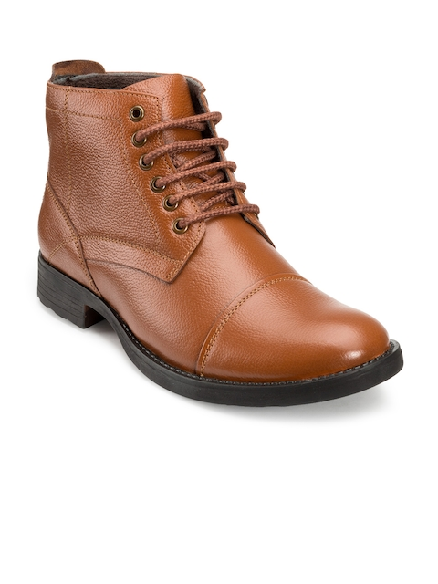 Escaro Men Tan Brown Leather Flat Boots