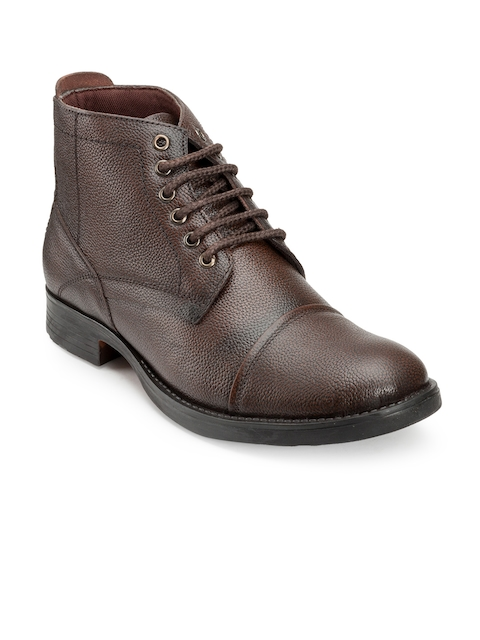 Escaro Men Brown Leather Flat Boots