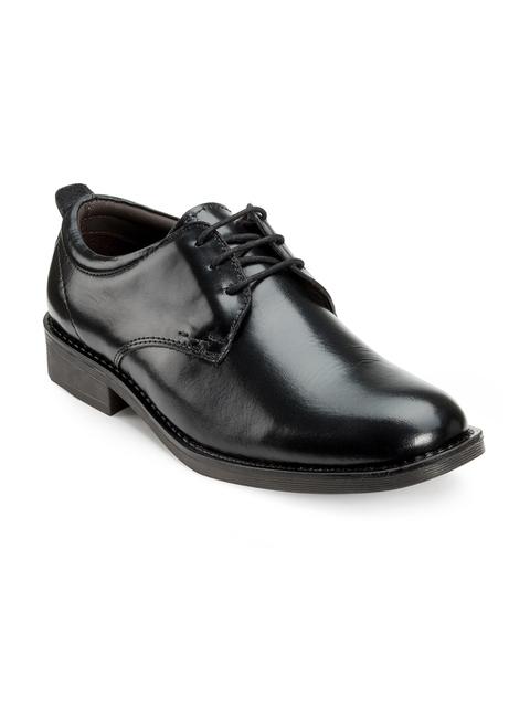 Escaro Men Black Leather Derby Shoes