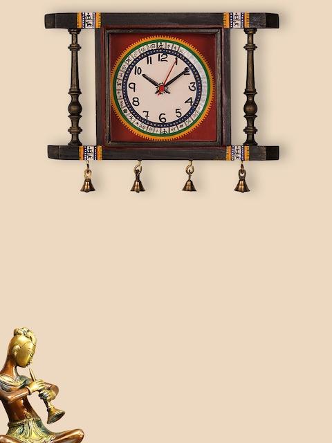 ExclusiveLane White & Brown Hand-Painted Teak Wood Wall Clock