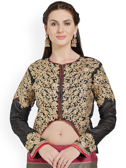 Riya Black & Gold-Toned Embroidered Art Silk Blouse