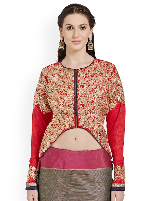 RIYA Red Colour Embroidered Art Silk Blouse