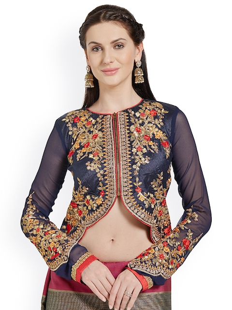 RIYA Navy Blue Embroidered Art Silk & Georgette Blouse