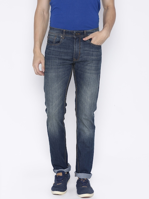 Peter England Casuals Men Blue Slim Fit Mid-Rise Clean Look Stretchable Jeans