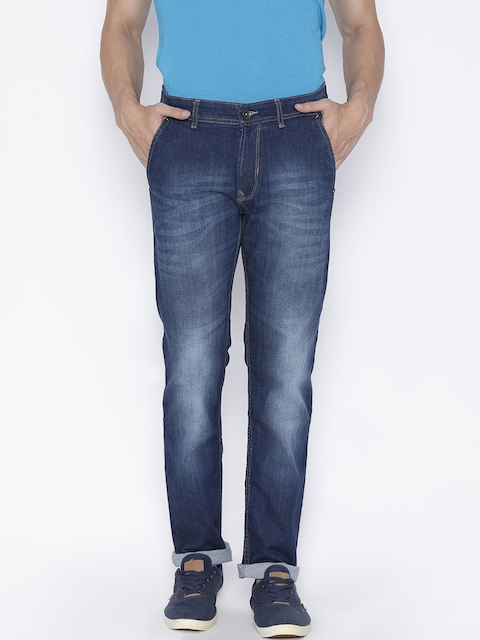 0a43444395c 50%off Peter England Casuals Men Blue Slim Fit Mid-Rise Clean Look  Stretchable Jeans