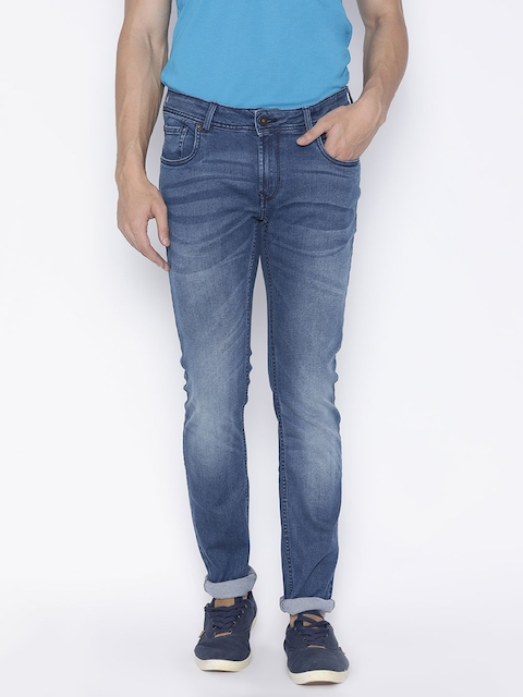 Peter England Casuals Men Blue Skinny Fit Mid-Rise Clean Look Stretchable Jeans