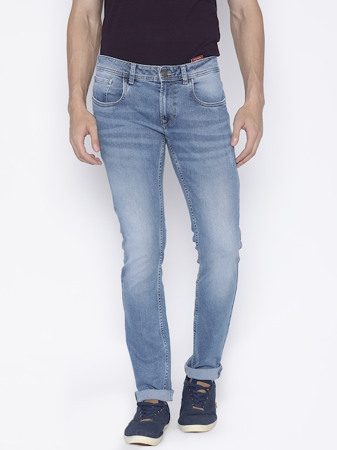 Peter England Casuals Men Blue Skinny Fit Low-Rise Low Distress Stretchable Jeans