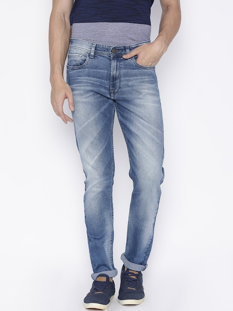 Peter England Casuals Men Blue Classic Tapered Fit Mid-Rise Clean Look Stretchable Jeans