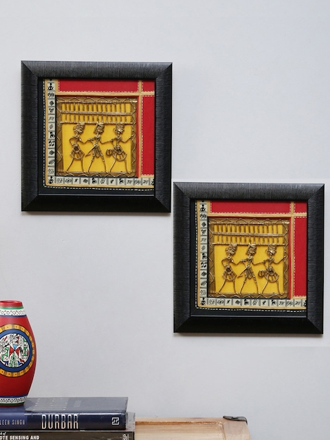 VarEesha Red Set of 2 Dhokra Handcrafted Wall Hangings