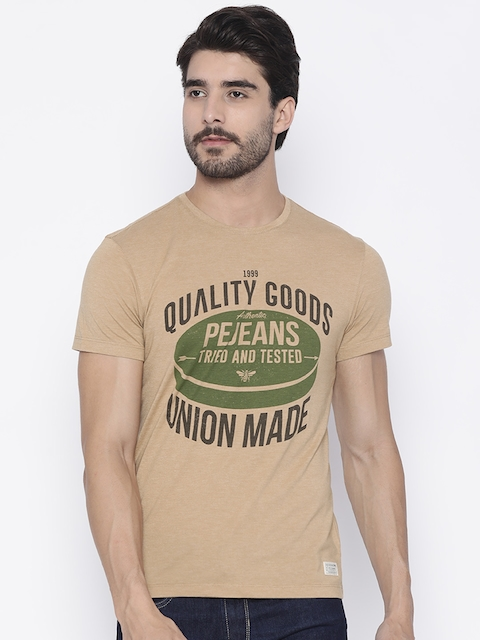 Peter England Casuals Men Brown Printed Round Neck T-shirt  available at myntra for Rs.440