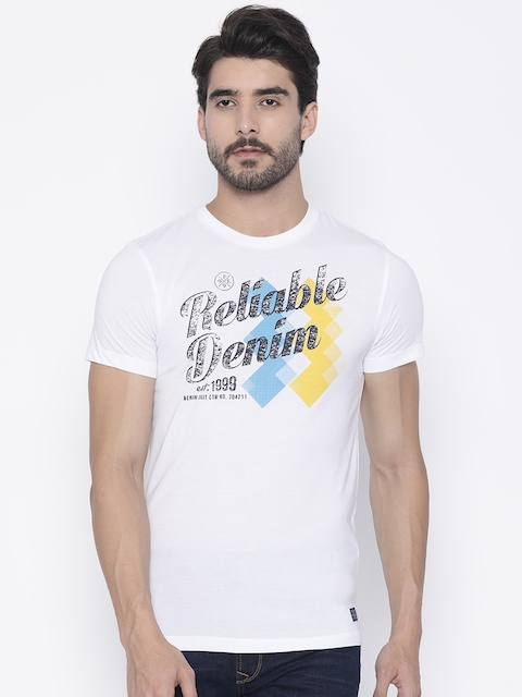 Peter England Casuals Men White Printed Round Neck T-shirt  available at myntra for Rs.440