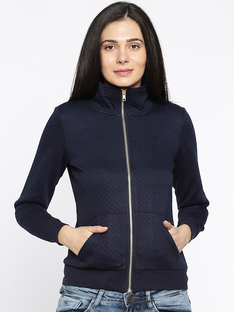 Fame Forever by Lifestyle Women Navy Blue Self Design Quilted Jacket