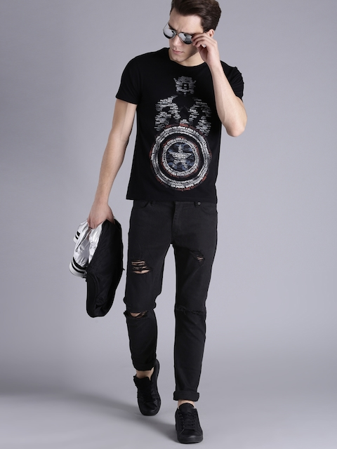 Kook N Keech Marvel Men Black Printed Round Neck T-shirt  available at myntra for Rs.239