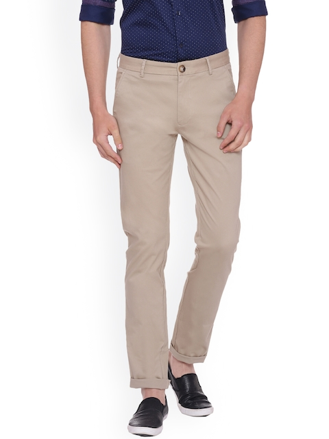 Peter England Casuals Men Beige Slim Fit Self Design Chinos