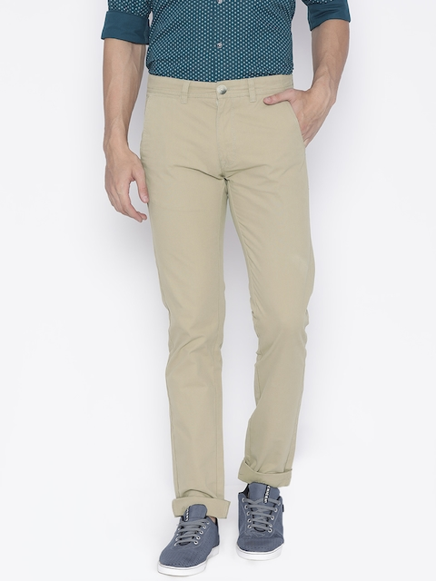 Peter England Casuals Men Beige Super Slim Fit Solid Trousers