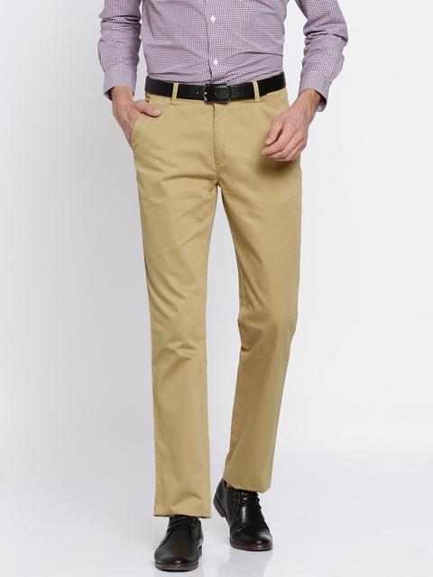Peter England Men Beige Slim Fit Solid Regular Trousers