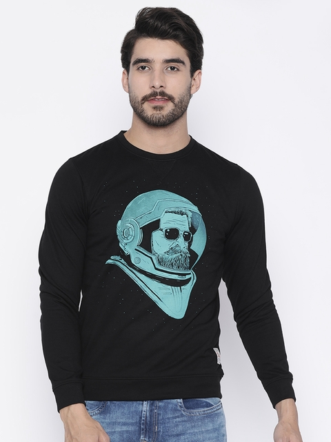 Peter England Casuals Men Black Printed Sweatshirt