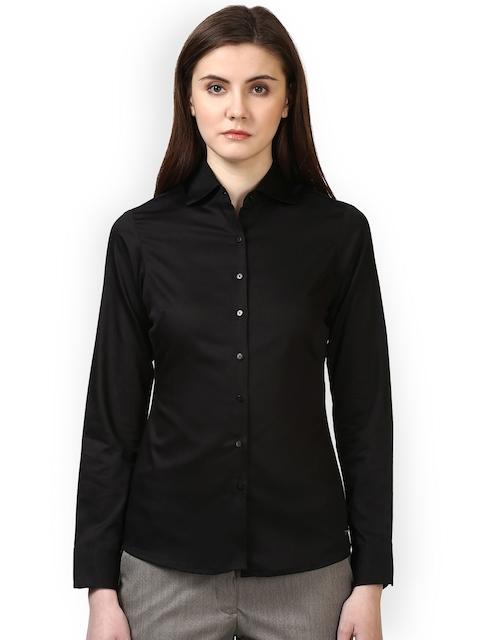 Park Avenue Woman Women Black Regular Fit Solid Formal Shirt