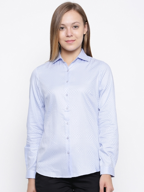 Park Avenue Woman Blue Regular Fit Self Design Formal Shirt