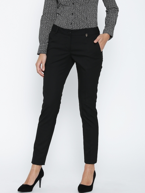 Park Avenue Women Black Regular Fit Solid Formal Trousers