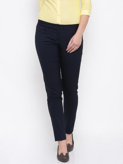 Park Avenue Women Navy Blue Regular Fit Solid Formal Trousers