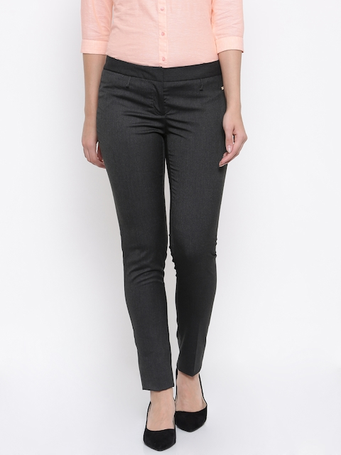 Park Avenue Women Charcoal Grey Tapered Fit Solid Formal Trousers