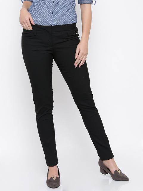 Park Avenue Woman Women Black Solid Formal Trousers