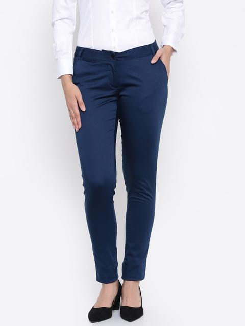 Park Avenue Women Navy Blue Super Slim Fit Solid Formal Trousers