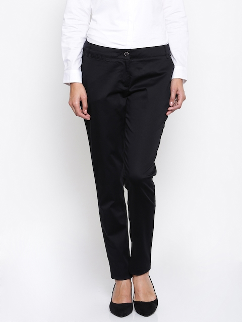 Park Avenue Woman Black Tapered Fit Solid Formal Trousers